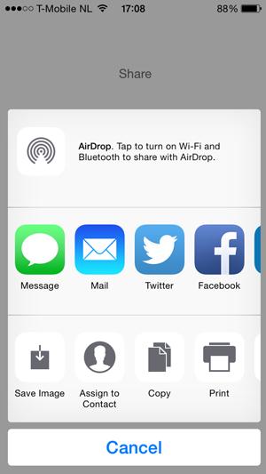 iOS Sharing Dialog